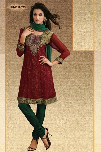 Alluring Churidar Salwar Kameez Dark Maroon Green Contrast