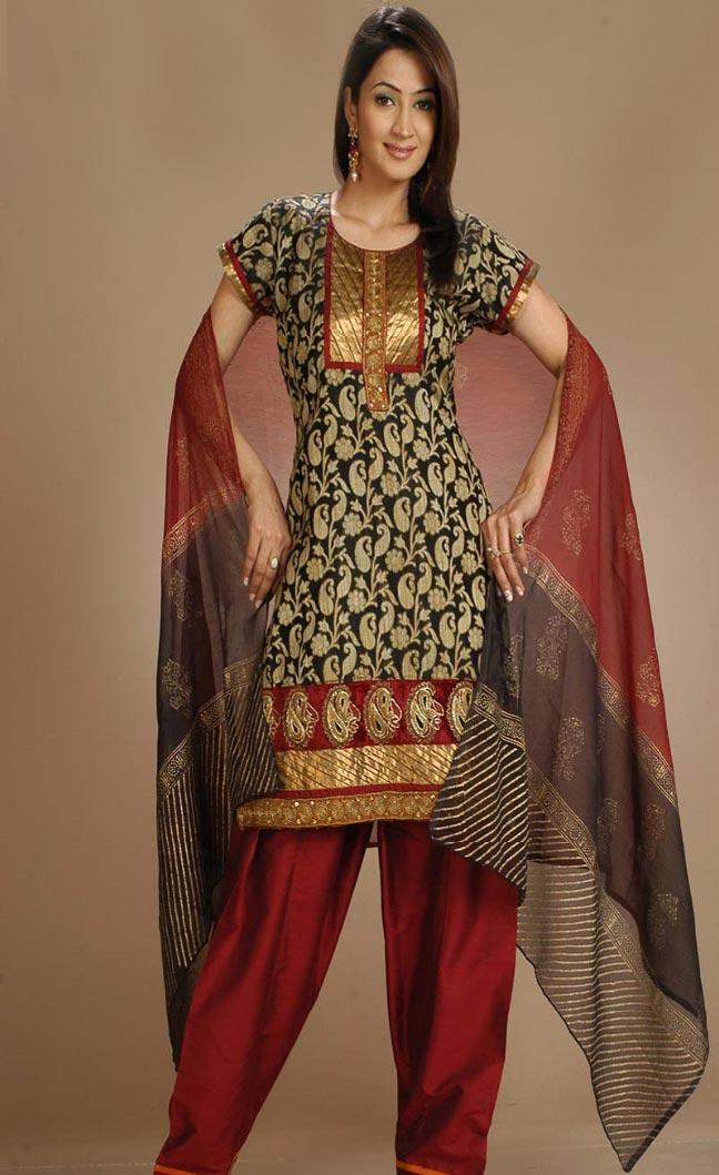 Black Cotton Salwar Kameez Party Dress Sheclick Com