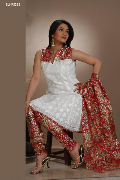Eye Catching Churidar Printed Salwar Kameez Sleeveless Sheclick Com