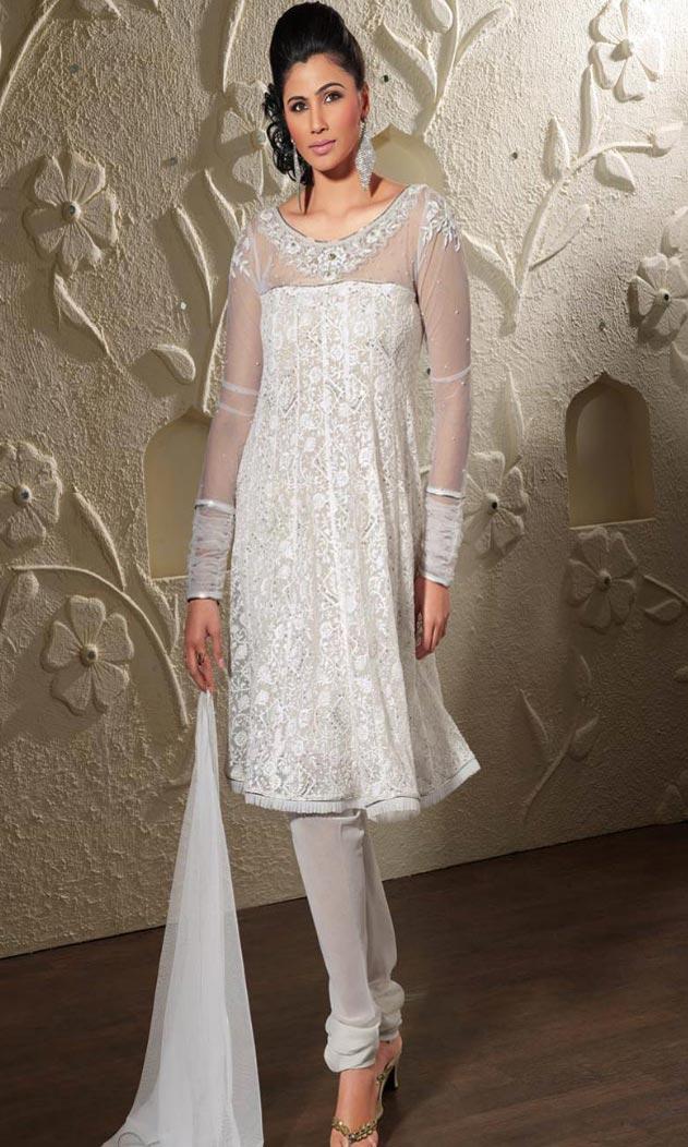 Off White Pure Chiffon Wedding Churidar Kameez Net Sleeves
