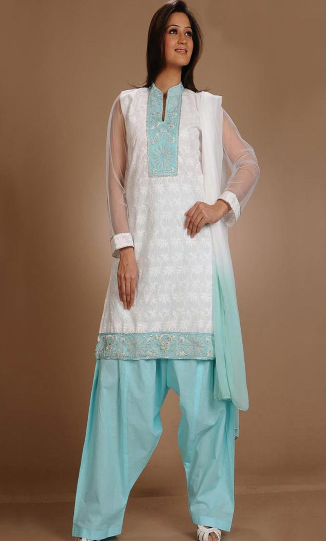 Party Cotton Chicken Worked Cream Color Salwar Kameez