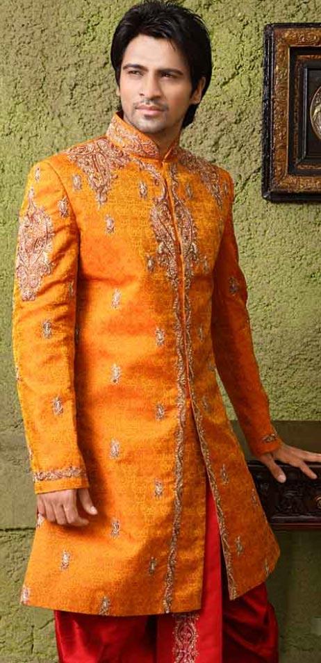 Wedding Deep Orange Raw Silk Embroidered Special Dhoti
