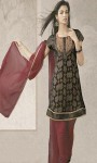 Wedding-Party-Black-Pure-Chiffon-Churidar-Kameez-with-Dupatta-Plane
