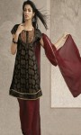 Wedding-Party-Black-Pure-Chiffon-Churidar-Kameez-with-Plane-Dupatta