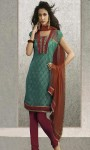 Wedding-Turquoise-blue-Pure-Chiffon-Churidar-Kameez-with-Contrast-Dupatta