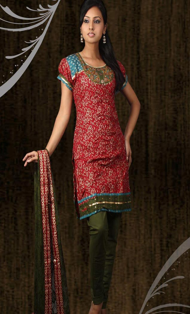 Red Cotton Kameez Short Sleeve With Churidar Contrast