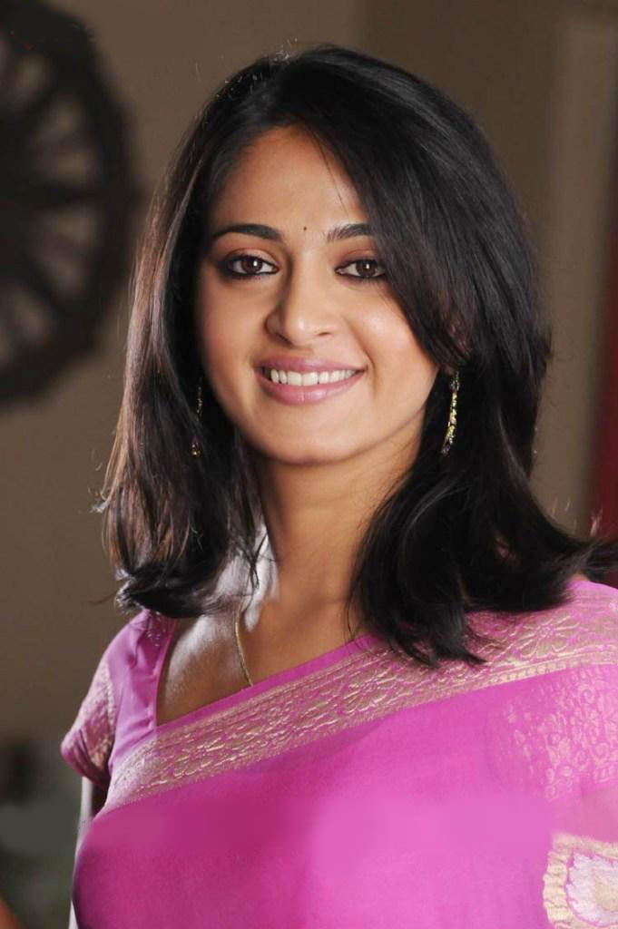 Anushka Shetty Short Hairstyle Purple Dress Sheclick Com