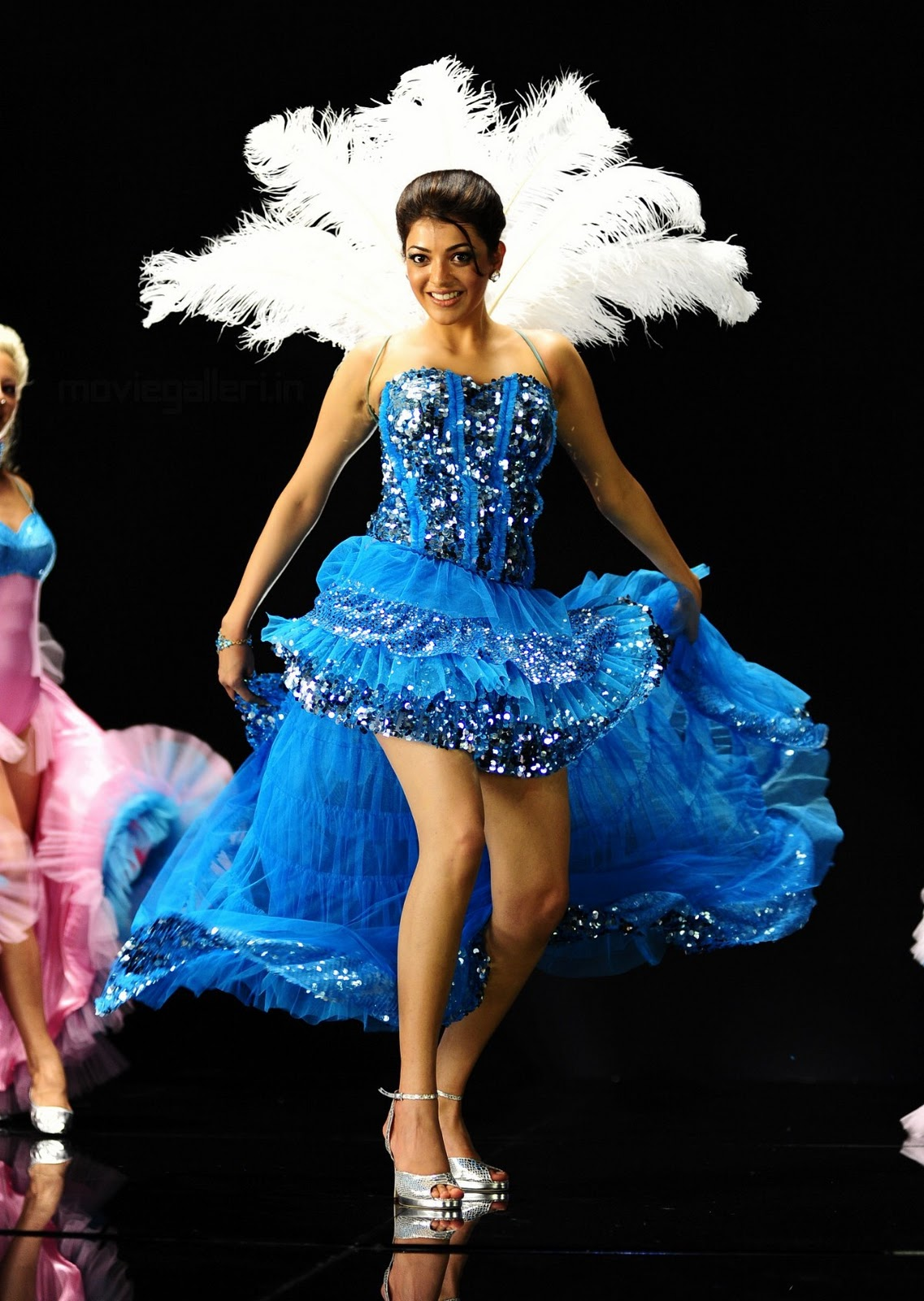 Kajal Agarwal Blue Prom Dress Fashion Show