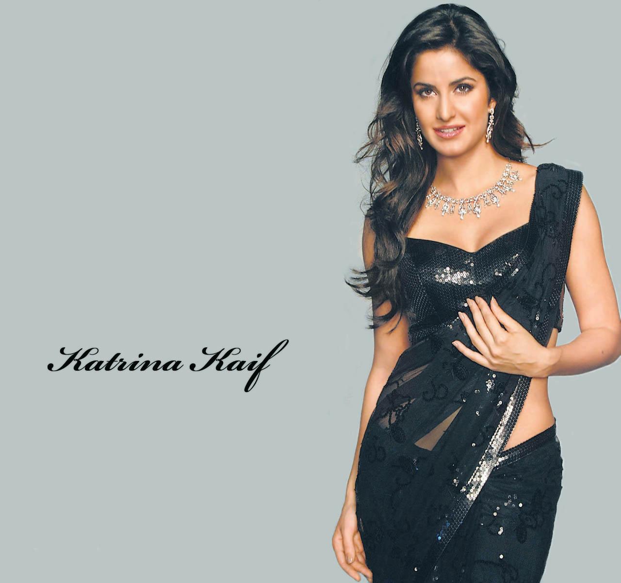 Smart Model Katrina Kaif Black Saree - SheClick.com