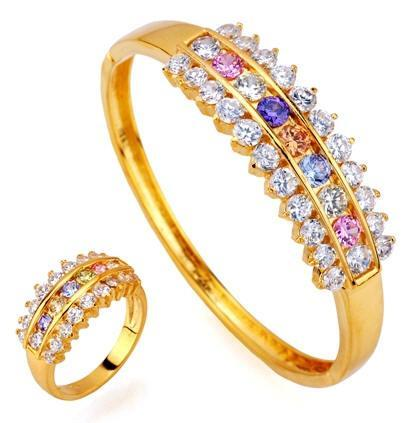 Colorful Gold Ring Sets Made with Gemstones for Brides - Absolute Gemstone Jewelry Designs For Girls