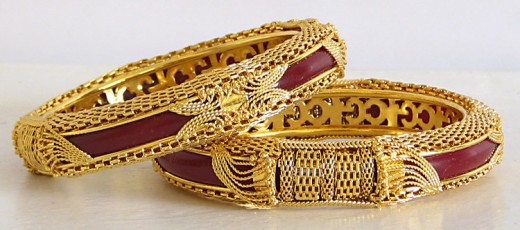 Cute Gold Plated Red Bracelets for Bridal 520x230 - Women Gold Bracelets For 2011 – Ultimate Designs Collection