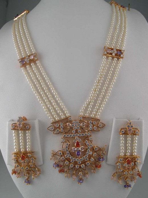 Indian Jewelry Made with Pearl and White Gemstones 520x693 - Absolute Gemstone Jewelry Designs For Girls