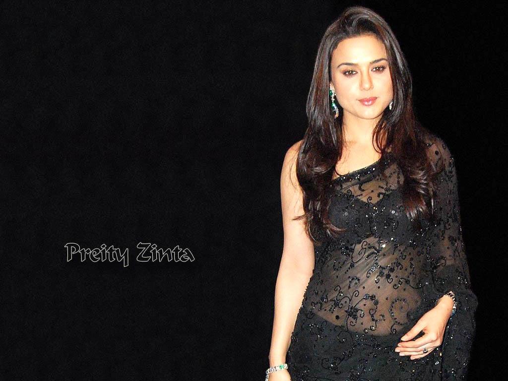 Preity Zinta Looking Beautiful In Black Saree Sheclick Com
