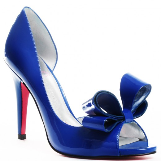 wedding wear blue high heel shoes for
