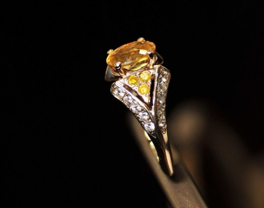 Yellow Beryl Fashion Ring with Yellow and White Diamonds 520x410 - Latest Fashion Rings: Remarkable Designs Collection