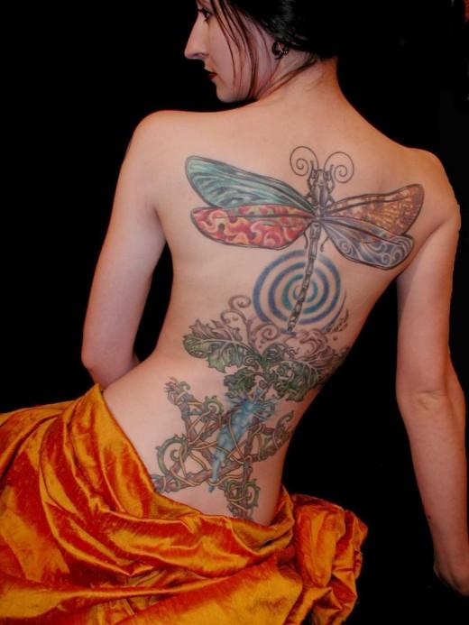 female back tattoo. female back tattoo. female
