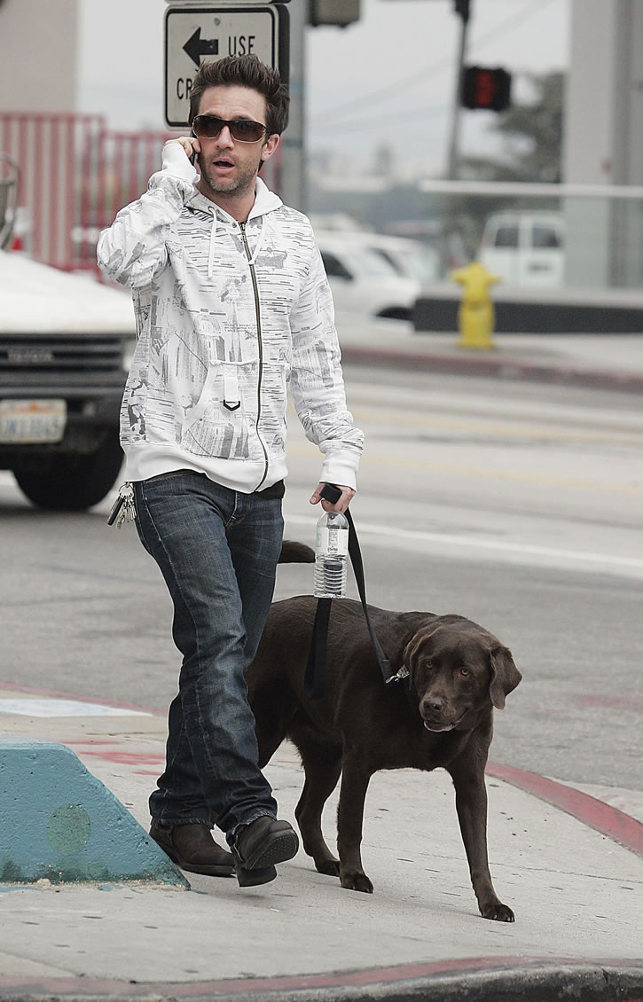 David Faustino With His Dog