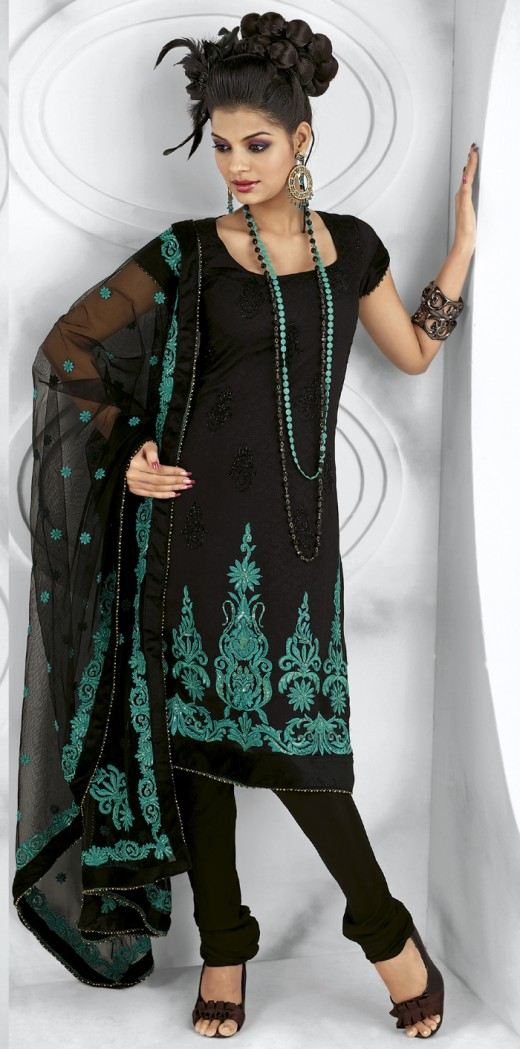 Black kameez with green color sequins, embroidery