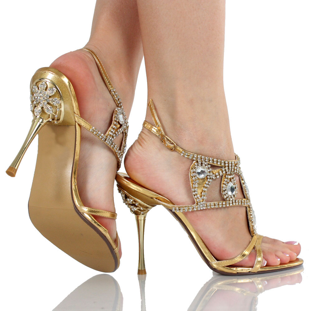 gold crystal wedding shoes   sheclick