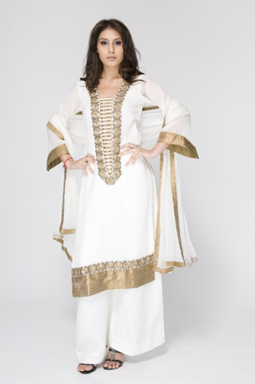 Long Kameez With Trouser White and Golden Dress