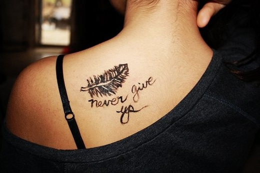 Cute Feather Small Quote Tattoos for Summer