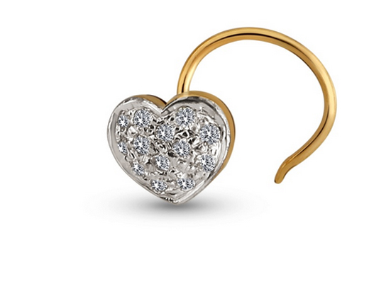 Kiara Heart Shape Diamond Silver Nosering