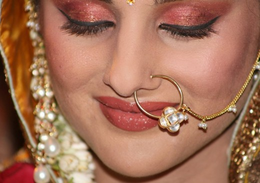 Maroon Golden Bridal Nose Ring for Brides 2014