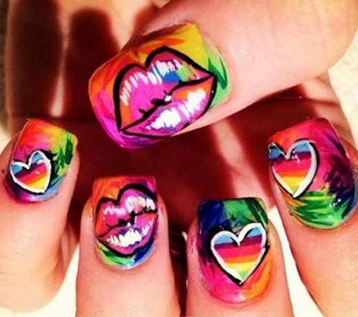 Lips and Heart Nail Art Designs For Eid