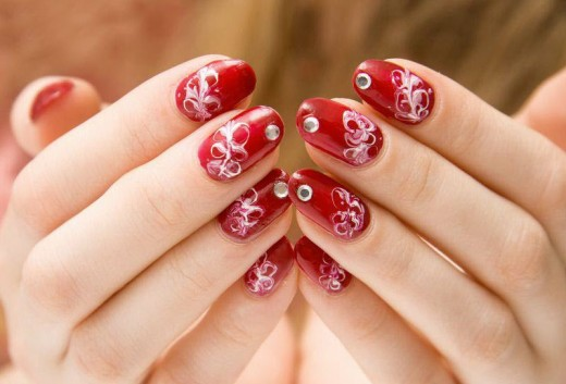 Red Nail Art Designs 2014 For Eid Ul Fitr