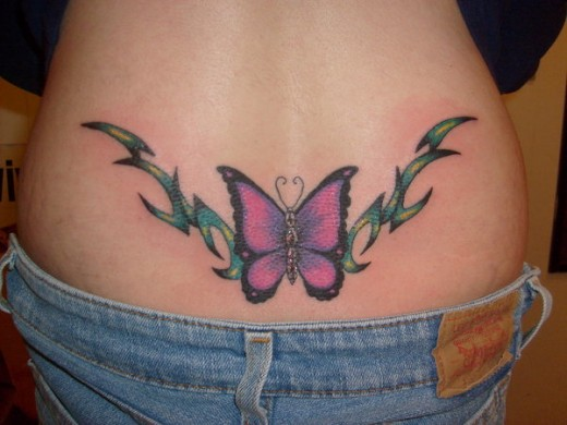 Kanji Flower and Butterfly Tattoo Design 2014