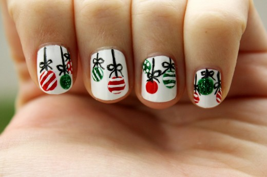 Christmas Tree Decoration Nail Design for Girls