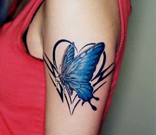 Girls Butterfly Cherry Blossom Tree Tattoos