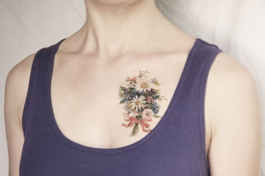 Spring Flowers Bouquet Tattoo for Women 2015