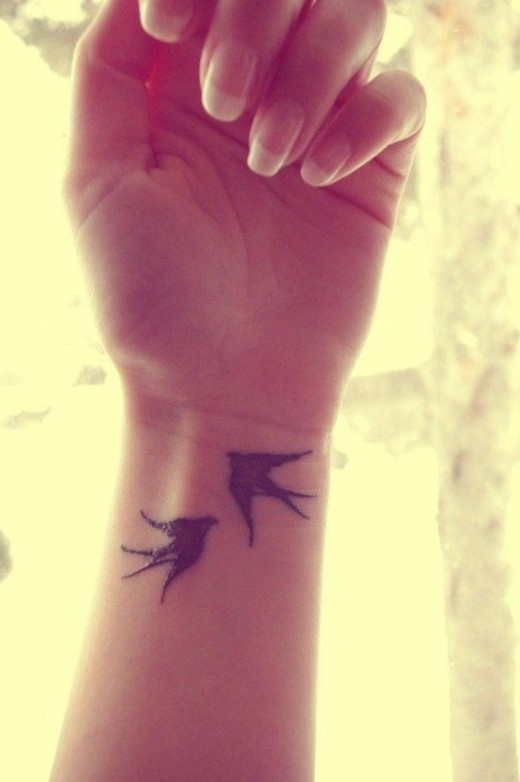 Spring Swallow Tattoo on Wrist for 2015