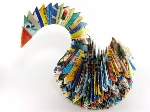 Colorful Swan Origami Paper Art