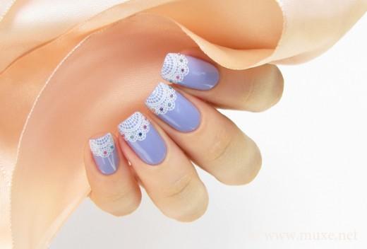 Beautiful 2015 Lilac Lace Nail Art