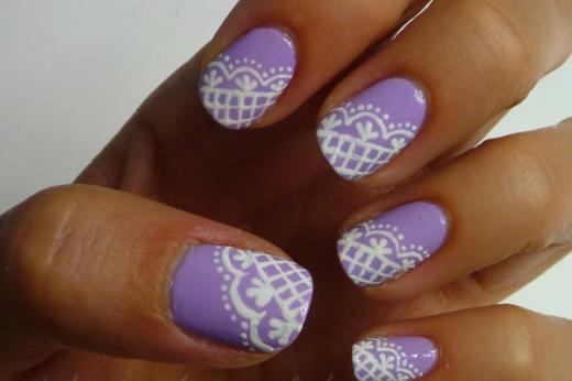 Fantastic Lace Lilac Nail Art 2015