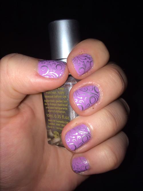 Lilac And Silver Nail Art Photograph