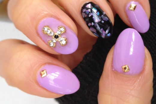 Lilac Rocks Nail Design for Girls