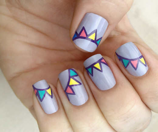 Manicure Lilac Flags Nail Design