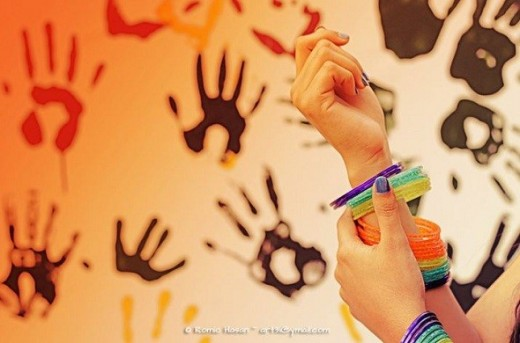Girl Wearing Colorful Bangles