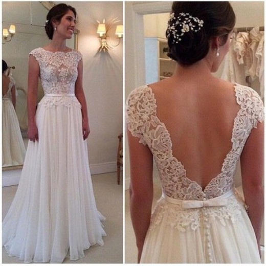 2015 Backless Prom White Dress for Women