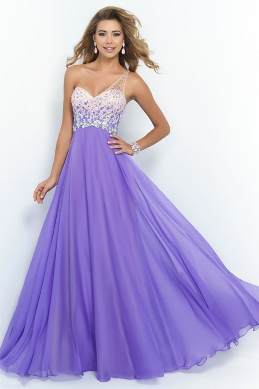 A Line One Shoulder Romantic Prom Dresses 2015