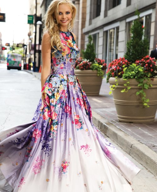 Purple Floral Prom Gown for Girls 2015