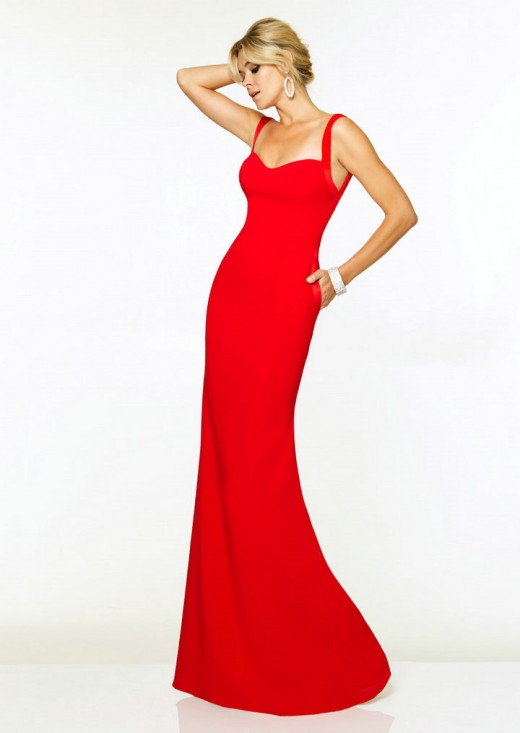Straps Chiffon Long Simple Red Prom Dresses 2015
