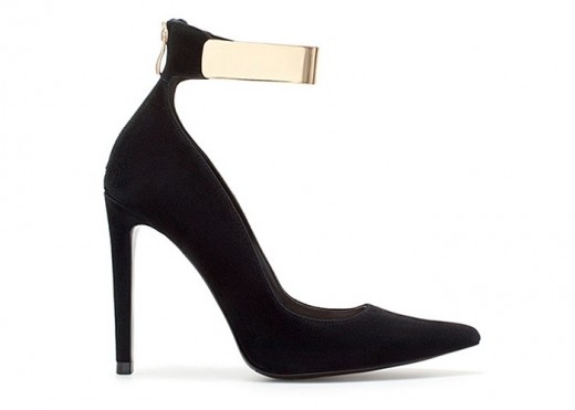 Black High Heeled Courts With Gold Ankle Strap