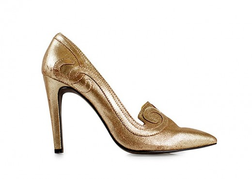 Metallic Gold Court Shoes for Christmas Party