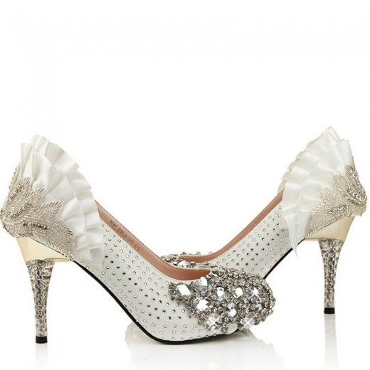White High Heels Bridal Shoes for Christmas Party