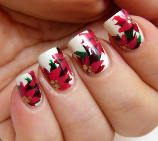 Awesome Flower Nail Art for Christmas