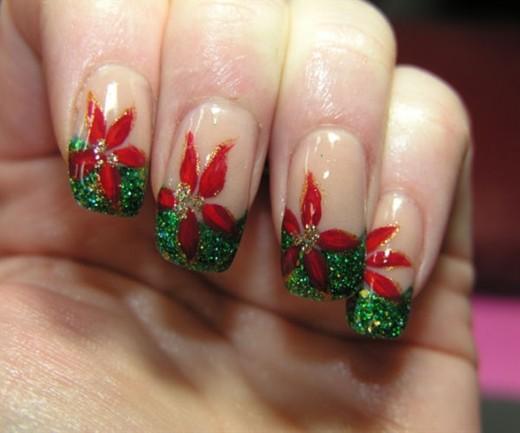 Christmas Flower Nail Art for Girls
